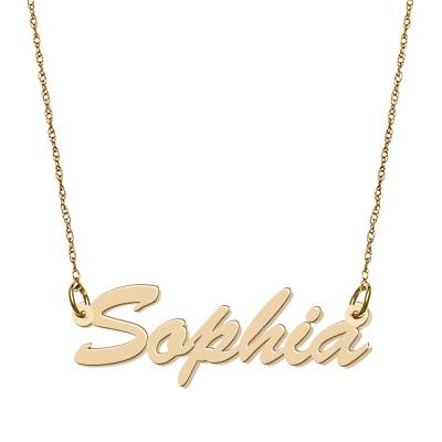 Personalized 14K Solid Gold Script Name Necklace