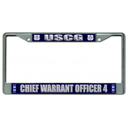U.S. Coast Guard Chief Warrant Officer 4 Chrome License Plate Frame