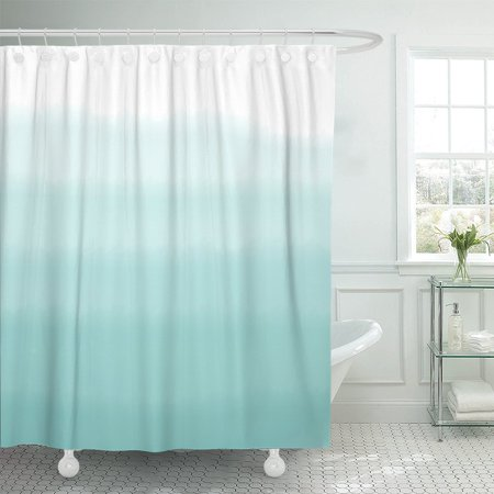 PKNMT Teal Dip Turquoise Green Ombre Watercolor Blue Dye Color Shower Curtain 60x72 inches ()