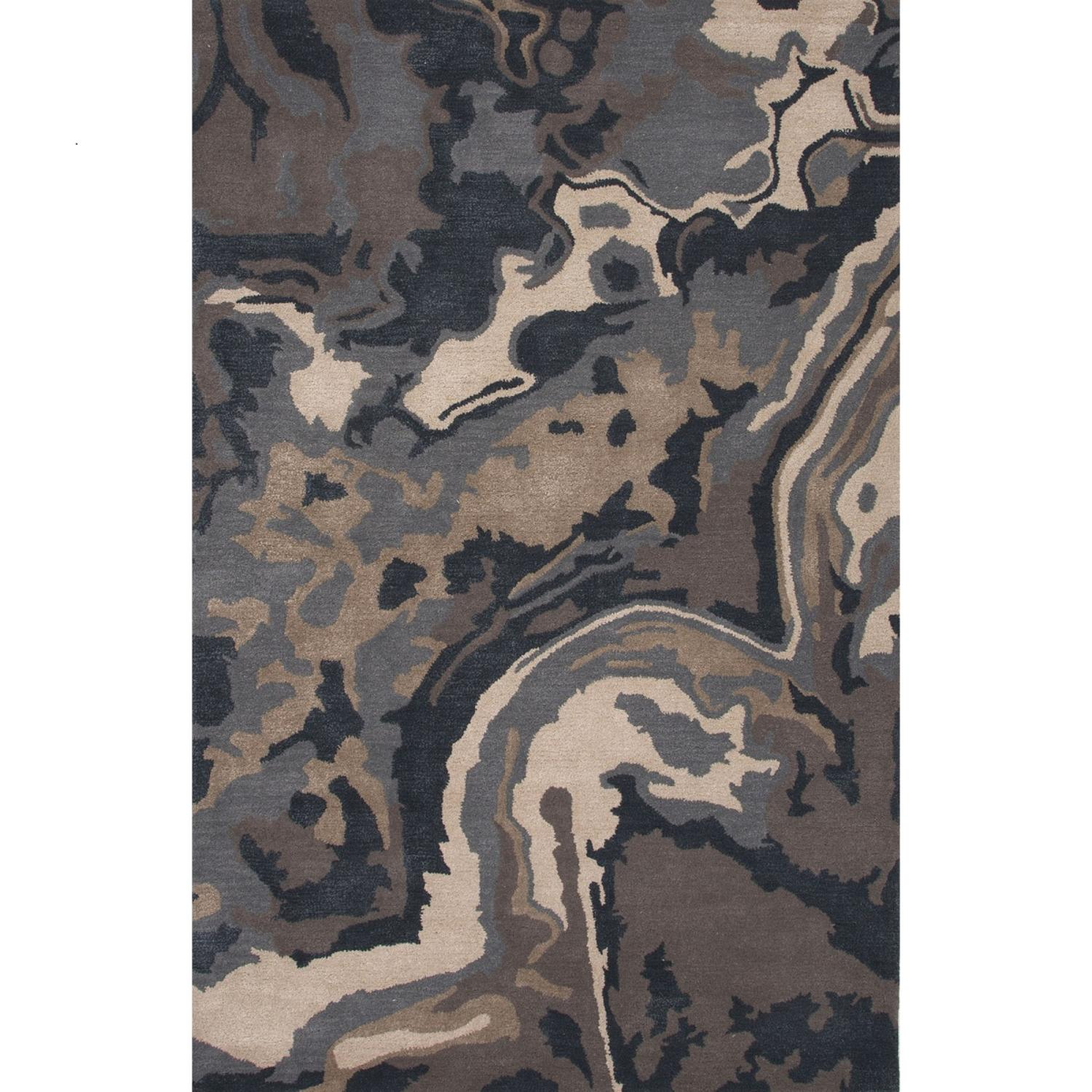 2' x 3' Charcoal Gray, Black and Tan Alabaster Modern Hand Tufted Wool and Art Silk Area Throw Rug