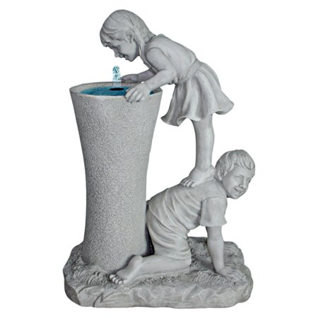 Design Toscano Get a Leg Up Girl and Boy Sculptural Outdoor Fountain