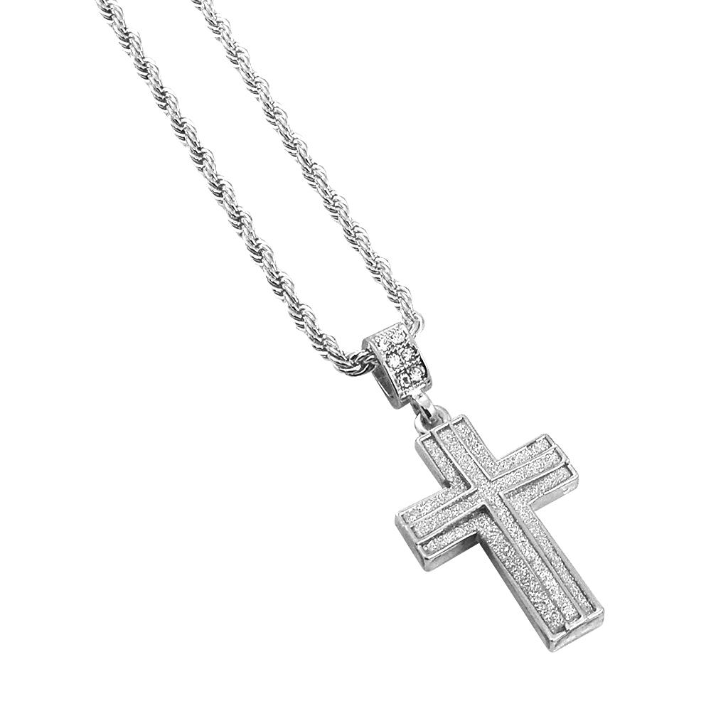 Mia Diamonds 10k White Gold Crucifix Pendant