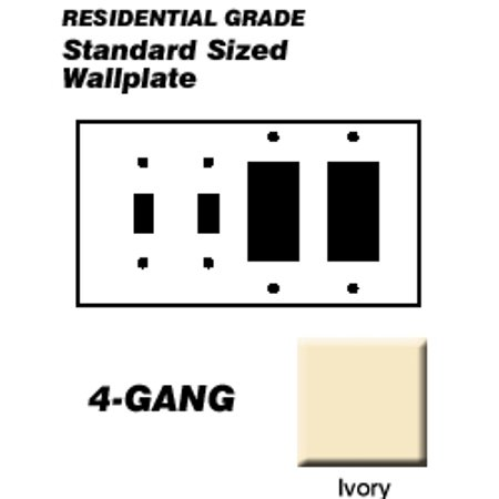 Ivory Hd15 Wall Plate (Leviton P2262-I Wallplate 4-Gang 2-Toggle 2-Decora Standard Size Painted Metal - Ivory)
