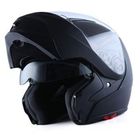 1Storm Motorcycle Street Bike Modular/Flip up Dual Visor/Sun Shield Full Face Helmet HG339 Matt Black