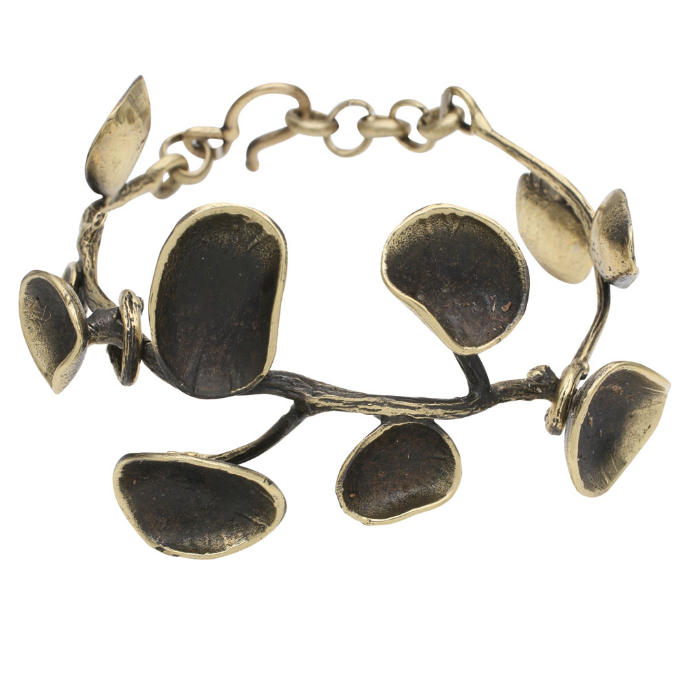 Women's Bronze Lily Pad Bangle Bracelet