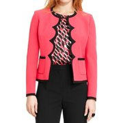 Kasper NEW Bright Pink Black Women's Size 4 Contrast Scallop-Trim Blazer