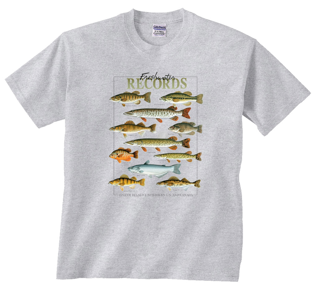 Freshwater Records Fish of The Northern US & Canada Fishing Long Sleeve T-Shirt