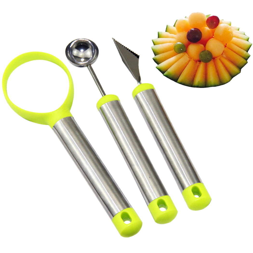 Outgeek 3PCS Fruit Scoop Set Stainless Steel Multifunctional Fruit Ballers Carving Tool Seeds Remover Creative Fruits Making Tools Gadgets