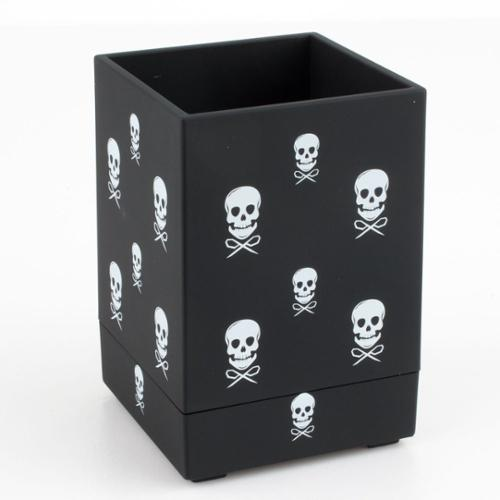 Insten Pen Pencil Ruler Holder Cup Stationery Desktop Organizer Soft Touch - Black with White Skull