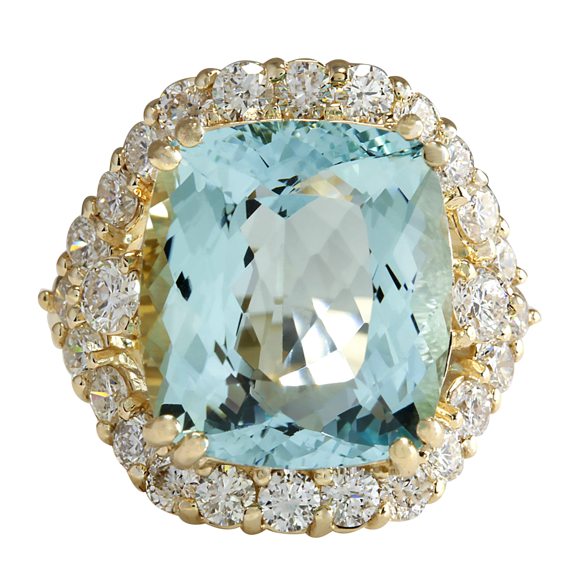 13.13Ct Natural Aquamarine And Diamond Ring In14K Solid Yello Gold by