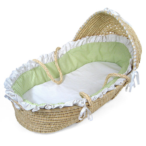 Badger Basket Natural Hooded Moses Basket w Sage Gingham Bedding