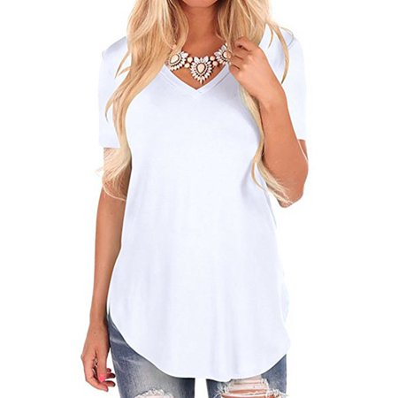 b6f74b096d6 Short Sleeve T Shirts For Women Curved Hem V Neck Side Slit Loose Summer  Tops Blouse Casual Tee