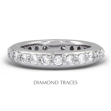 Diamond Traces UD-EWB450-3293 18K White Gold Pave Setting 1.26 Carat Total Natural Diamonds Classic Eternity Ring - image 1 of 1