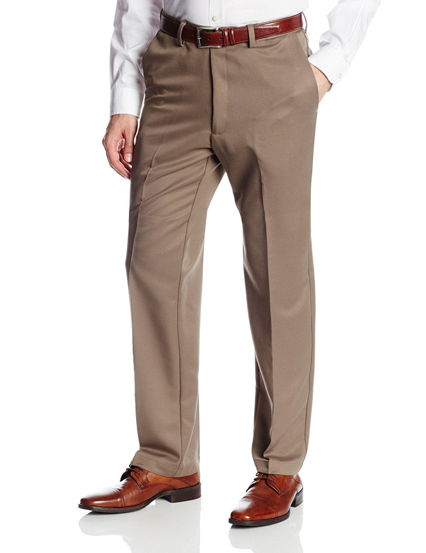 Whitive Mens No Iron Hidden Expandable-Waist Business Plain-Front Pants