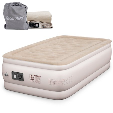 Raised Aerobed (Costway Twin Size Air Mattress Inflatable Upgraded Luxury Airbed Raised Built-in Pump )