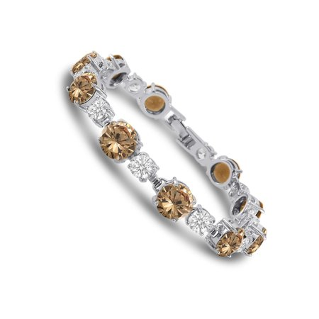 Cubic Zirconia Tennis Bracelet Silver Plated Brass Round Cut Champagne Colored CZ 7 inch for $<!---->