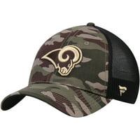 Los Angeles Rams NFL Pro Line by Fanatics Branded Jungle Trucker Hat - Camo/Black - OSFA