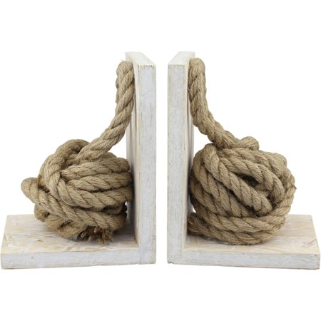 White Wood Bookends with Natural Rope Knots, Set of 2