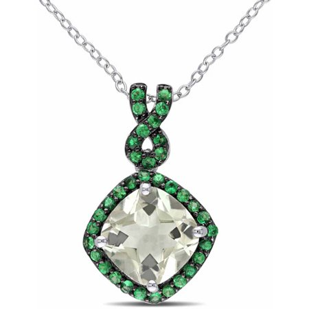 4-1/5 Carat T.G.W. Green Amethyst and Tsavorite Sterling Silver Halo Pendant, 18