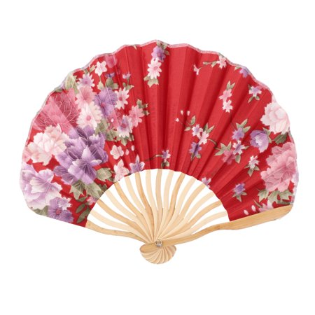 Womens Pennies - Women Dancing Party Bamboo Frame Peony Printed Summer Folding Fan Multicolor