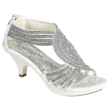 Angel-37 Women Party Evening Dress Bridal Wedding Rhinestone Platform Kitten Heel Sandal Shoes White