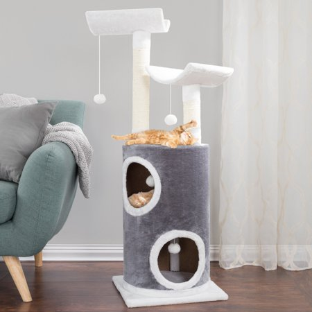 Petmaker 5 Tier 45 in. Cat Tree with Double Decker Condo and Scratching (Five Tiered Cat Tree)