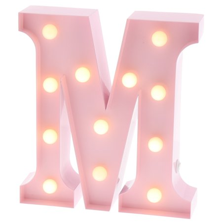 Barnyard Designs Metal Marquee Letter M Light Up Wall Initial Nursery Letter, Home and Event Decoration 9
