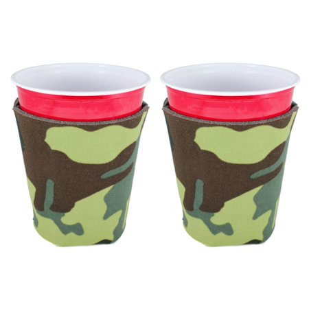 Blank Foam Collapsible Bottom Party Cup Coolie (2, Camo)
