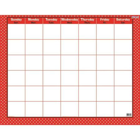 Trend Enterprises T-27024 Polka Dots Red Wipe Off Calendar