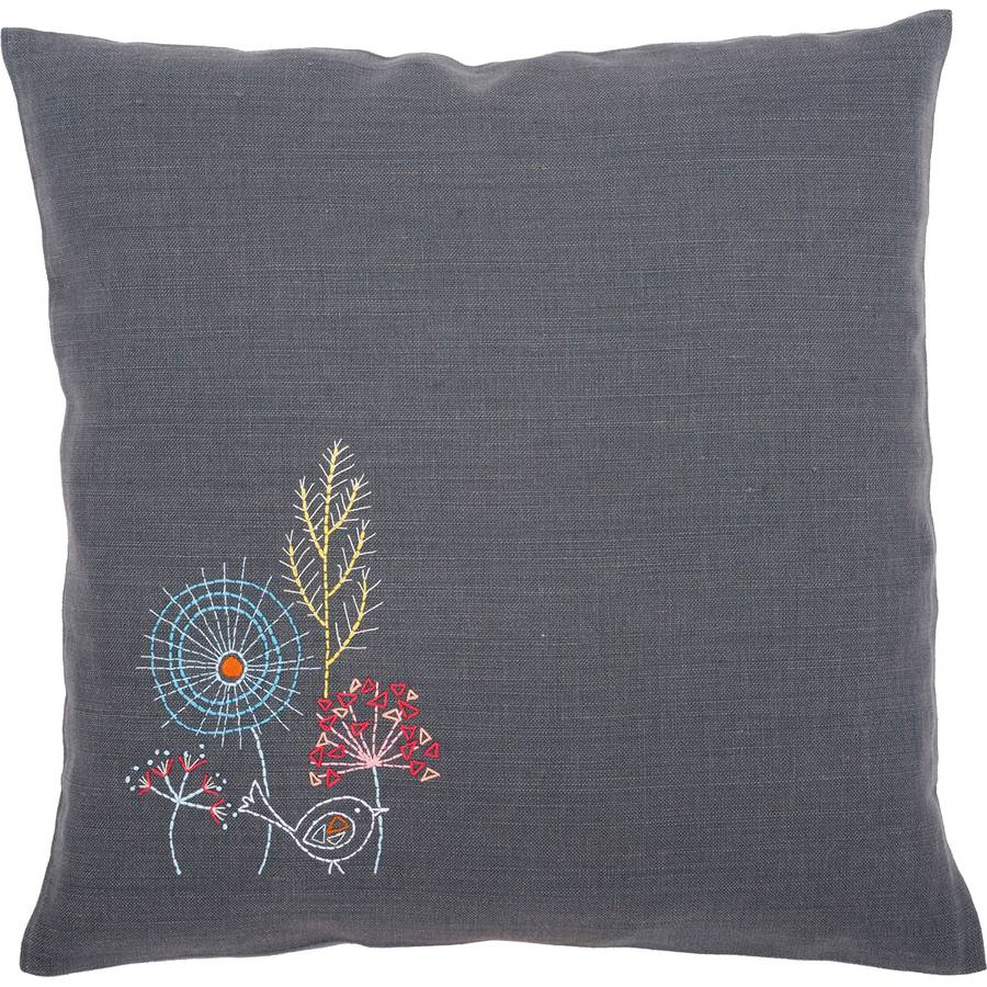 """Stylized Flowers IV Cushion Stamped Embroidery Kit, 16"""" x 16"""""""