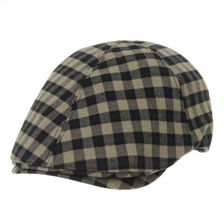 WITHMOONS Mens Flat Cap Gingham Checks Plaid Ivy Hat SL3841 (Beige)