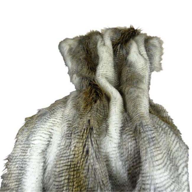 Plutus PB16408-114x120 Faux Fur Alaskan Hawk Handmade Blanket, White & Gray Beige - 114 x 120 in. - image 1 de 1