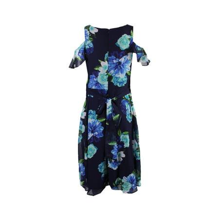 Jessica Howard Petite Navy Floral-Print Cold-Shoulder Dress (Jessica Howard Floral Print Dress With Shrug)
