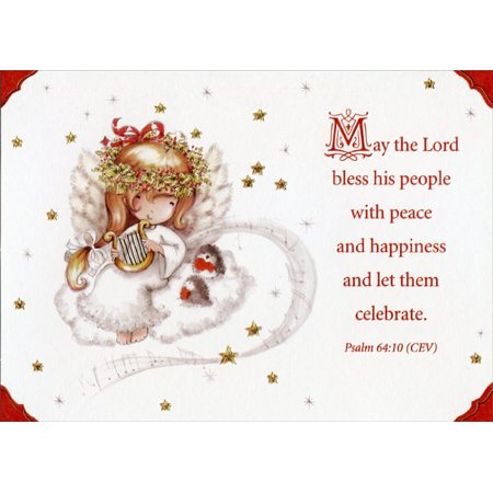 Designer Greetings Angel Child with Harp Box of 18 Religious Christmas Cards ()