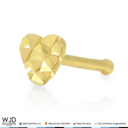 - 1Pc Diamond Cut Heart Shape Nose Stud Bone Ring 14k Solid Yellow Gold 8mm
