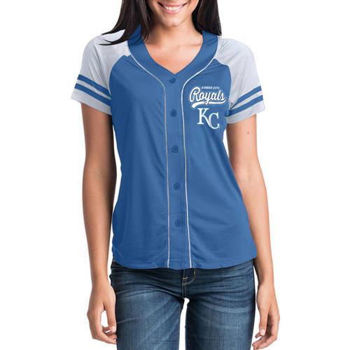 MLB Kansas City Royals Women's Short Sleeve Button Down Mesh Jersey