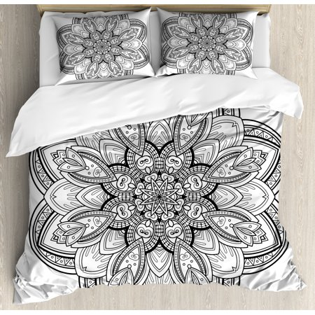 Henna Duvet Cover Set, Mandala Design in Black and White Ethnic Inspirations Doodle Amulet Style Monochrome, Decorative Bedding Set with Pillow Shams, Black White, by Ambesonne ()
