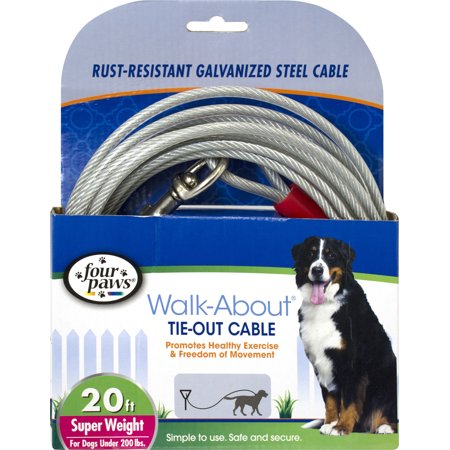 Four Paws Tie Outs - Four Paws-Container-Four Paws Dog Tie Out Cable- Super Weight- Silver 20 Ft