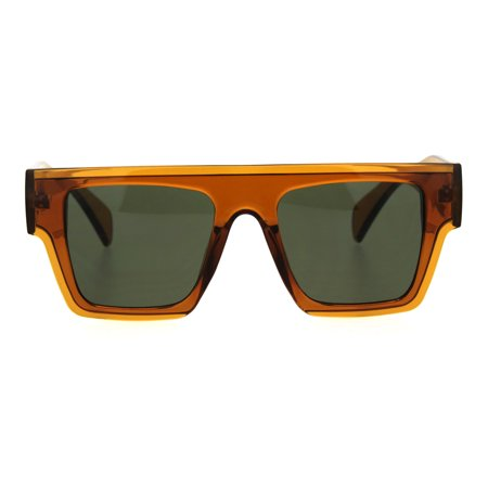 Flat Top Translucent Thic Horn Rim Plastic Mobster Retro Sunglasses Brown Green
