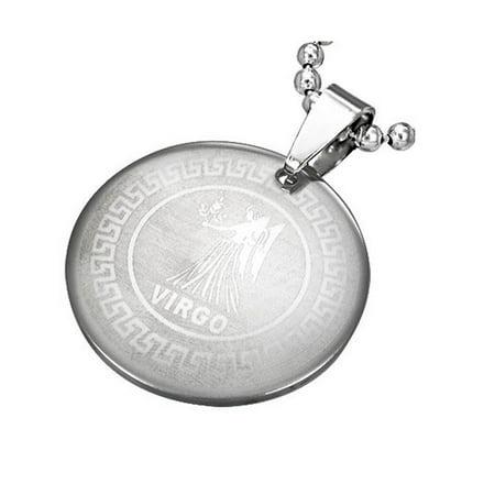 "Stainless Steel Silver-Tone Greek Key Zodiac Sign Necklace Pendant - Virgo, 24"""