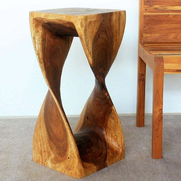 Haussmann Handmade Original Wood Twist Stool/End Table (Thailand