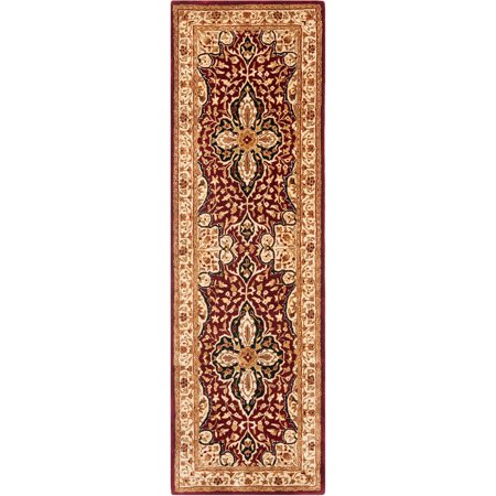 Safavieh Persian Legend Caryn Hand Tufted New Zealand Wool Runner Rug, Red and Beige