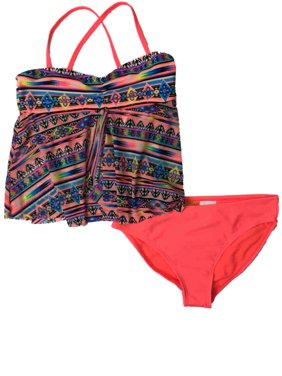 Girls Purple Coral & Black Tribal Print 2- Piece Swimming Suit Swimsuit Set