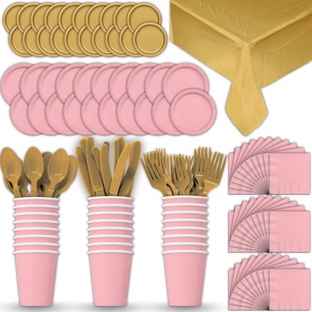 Paper Tableware Set for 24 - Light Pink & Gold - Dinner and Dessert Plates, Cups, Napkins, Cutlery (Spoons, Forks, Knives), and Tablecloths - Full Two-Tone Party Supplies Pack