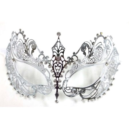 Silver Crystal Beautiful Eyes Laser Cut Venetian Mask Masquerade Metal Filigree - Venetian Masquerade Masks On A Stick