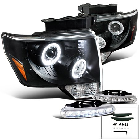 Spec-D Tuning For 2009-2014 Ford F150 Fx2 Fx4 King, Black Halo Led Projector Headlights, Led Pair (Left+Right) 2009 2010 2011 2012 2013