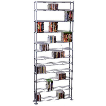 "Atlantic 77"" Maxsteel 12-Tier Heavy Gauge Steel Multimedia Storage Rack (864 CDs, 450 DVDs, 490 BluRays), Silver"