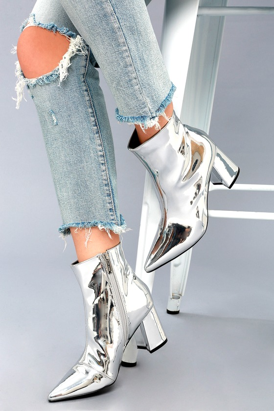 Silver Bootie Heels