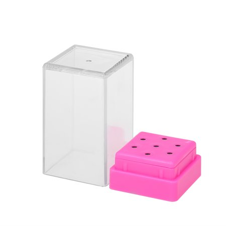 Portable 7 Holes Nail Drill Bits Holder Case Displayer Organizer Container Nail Tools Dustproof Manicure