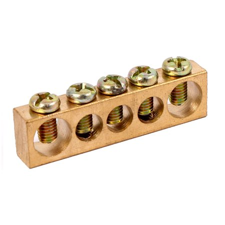 Copper Ground Bus Bar (5 Positions Electric Distribution Wire Screw Terminal Ground Copper Neutral)